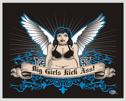 Big Girls Kick Ass t-shirt by godzillasmash