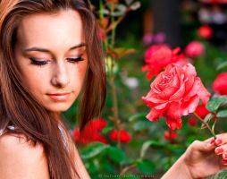 A girl with roses by ScorpionEntity