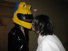 Shinra Celty: Helmet Kiss by Pittiee