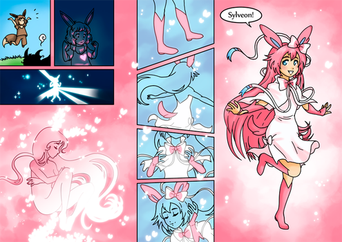 Eevee evolves to Sylveon by nya-nannu