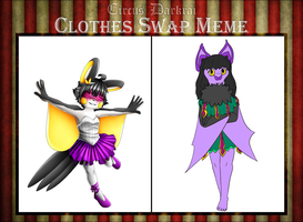 CD Clothes Swap Meme- Lilly and Caecilie by Demonshark151