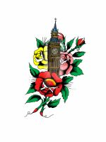 Big Ben roses tattoo collage by spaceymama
