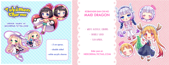 RE-STOCKED PKM and Maid Dragon charms by Neko-Rina