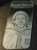 Archie Griffin Etched Glass Art Car Window by ImaginedGlass