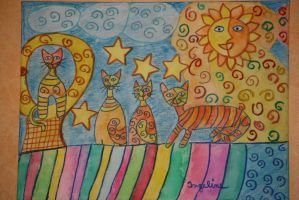 sun,moon and star cats by ingeline-art