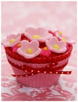 Strawberry Cupcake w/ Pink Fondant Flowers by theresahelmer