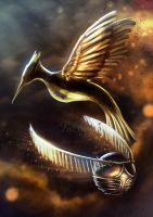 Tribute Snitch and Mockingjay by LuzTapia