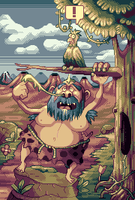 Caveman and Bird by AlbertoV