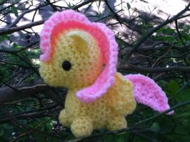 Fluttershy precariously perched in a tree by ChronicReverie