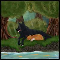 The fox and the wolf by Mean-Sindri