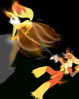 Blaziken vs. Fennekin by Almost-Toxic
