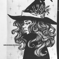 Inktober Day 23 Familiar Witch by Meggie-M