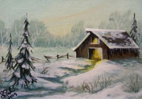 ACEO Frosty Morning by annieoakley64