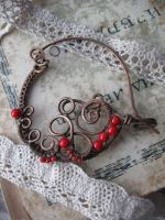 copper wire shawl pin by Lirimaer86
