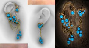 Gold-plated wire, turquoise. by olga51275