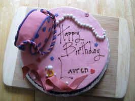 Pink Girly cake-top view by Sumrlove