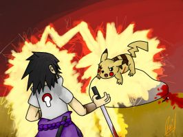 Pikachu Vs Sasuke by Ozkar17