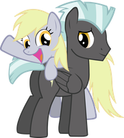 Derpy and Thunderlane by Mythogamer