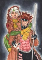 Rogue and Gambit by Fredbenes