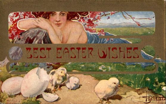 Best Easter Wishes - Art Nouveau Elegance by Yesterdays-Paper