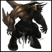 Dark armored demon concept by DageThe3vil