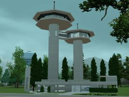 Sims 3 Futuristic tower house by RamboRocky