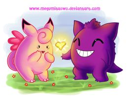 :Clefable and Gengar: by MeguBunnii