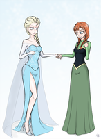 Portrait of Queen Elsa and her Sister by GaryLight