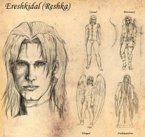 Ereshkidal - early sketches by DameOdessa