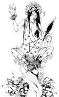 King of Pentacles BW by TheIronClown