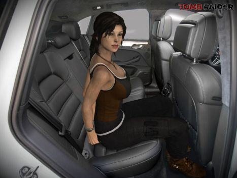 Lara Croft Handcuffs Backseat by honkus2