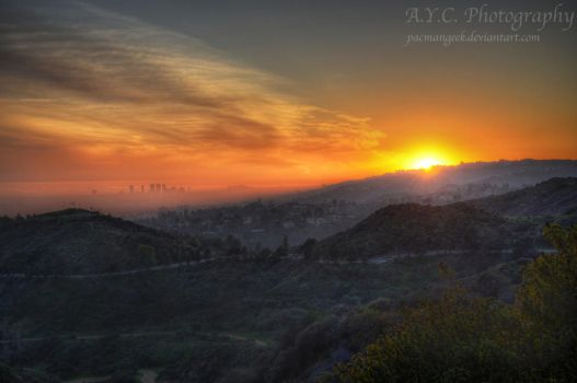 Sunset Over Downtown Los Angeles by pacmangeek
