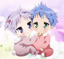 cute konata and kagami baby by silksofsweden