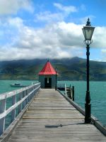 pier with a red roof by O-Gosh