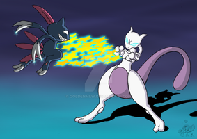 Mewtu VS Sniebel by GoldenMew