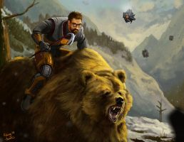 Gordon Freeman on a bear by Rhunyc