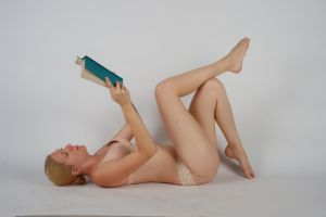 Body Reference - Lying - Book Held Up by Danika-Stock