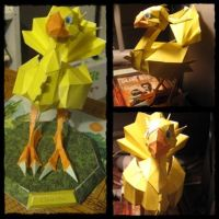 Chocobo Papercraft- Saneperson by giraffesonparades