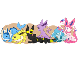 My eeveelution team by washumow