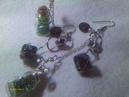 D10 and Vial Shamrock Earrings by stardove3