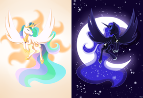 Celestia and Luna - MLP by Ellen124