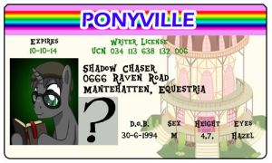 Shadow Chaser Ponyville License by Shadowpredator100
