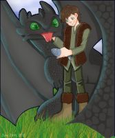 Hiccup and Toothless by V-0410