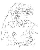 Link smiling - black and white by Cosmo4eva