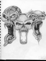 three skulls by metalchick84