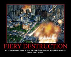 Fiery Destruction Motivational Poster by QuantumInnovator