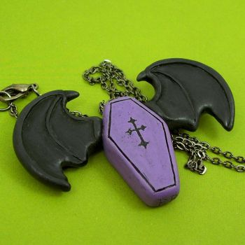 Bat Winged Coffin Necklace by beatblack