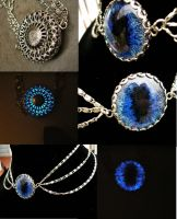 3 Tier Chain Blue Void Glow Pendant by LadyPirotessa