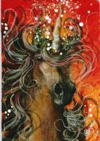 Burning Aura- Unicorn ACEO by BlackAngel-Diana