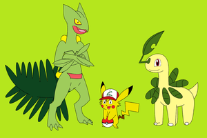 Two Grass Pokemon and an AshChu by Zombiehorse2